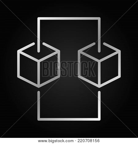 Blockchain line silver concept icon. Vector design element in thin line style made with two blocks on dark background