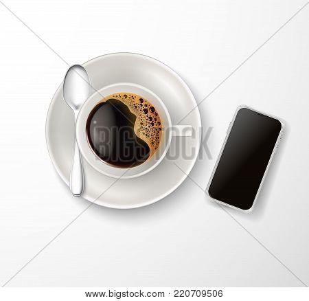 Vector realistic cup coffee with foam bubbles, saucer, spoon, smartphone top view. Hot beverage, drink white ceramic porcelain mug, mobile phone device. Business morning symbol, isolated illustration
