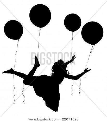 Silhouette Girl Child Riding Baloons