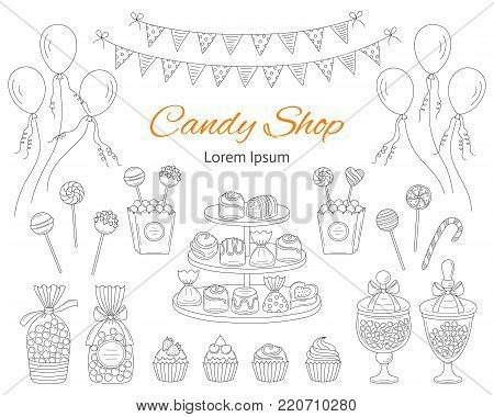 Vector illustration of Candy shop with sweets, candies in glass jars, lollipops, sweetmeats, assorted chocolates, cupcakes, air balloons and bunting flags. Hand drawn doodle illustration.