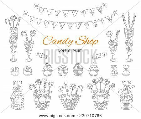 Vector illustration of candy shop with sweets, candies in glass jars, lollipops, sweetmeats, assorted chocolates, cupcakes and bunting flags. Hand drawn doodle illustration.
