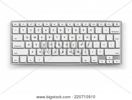 Vector realistic desktop keyboard mockup. 3d qwerty alphabet computer electronic device with white letter buttons on grey. Wireless modern plastic, aluminum tool on isolated white background