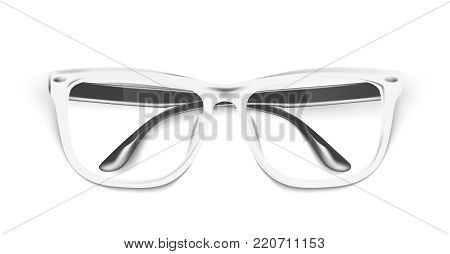 Vector realistic eyeglasses, spectacles mockup. Elegant white fashionable square frame semitransparent lens reflection. Office, geek optical eyewear accessory. Isolated illustration, white background