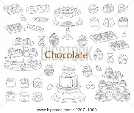 Chocolate dessert collection, with chocolate cherry cakes, chocolate bars, sweet candies and cupcakes, isolated on white background. Vector hand drawn doodle illustration.