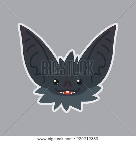 Bat sticker. Emoji. Vector illustration of cute Halloween bat vampire shows happy emotion. Hope. Isolated emoticon icon with sublayer. Bat-eared grey creature s snout. Print design. Badge. Dreamer.