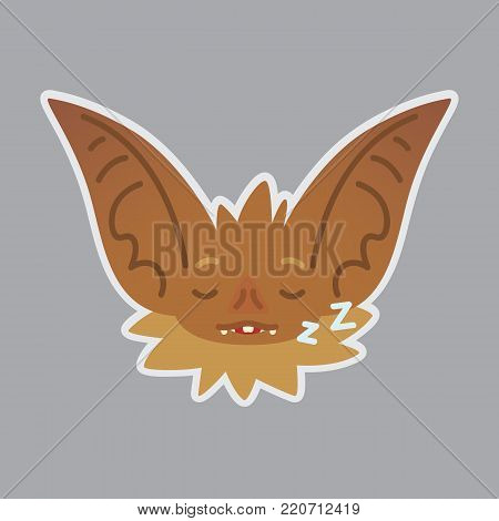 Bat emotional head. Vector illustration of bat-eared brown creature shows sleepy emotion. Rest emoji. Smiley icon. Halloween decoration, print, chat, communication. Isolated object with sublayer. Sleeping.