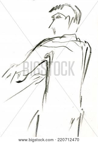 Orchestral conductor with stick. Illustration isolated on white.