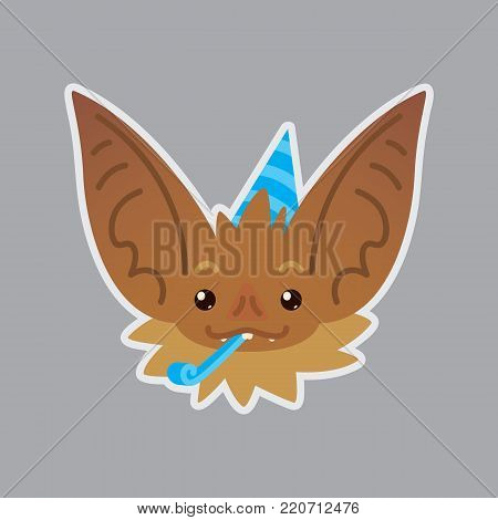 Bat emotional head. Vector illustration of bat-eared brown creature shows holiday emotion. Celebrating emoji. Smiley icon. Halloween decoration, print, chat, communication. Isolated object with sublayer. Birthday.