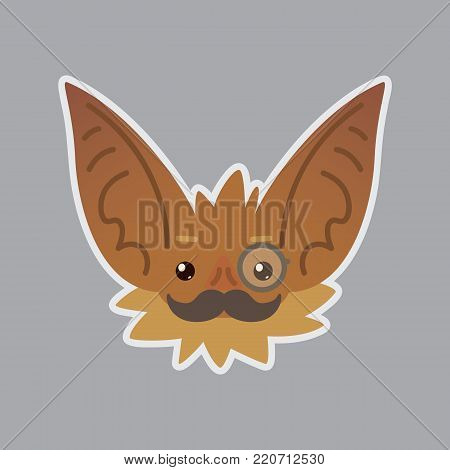Bat emotional head. Vector illustration of bat-eared brown creature shows intellectual emotion. Mister in monocle with moustache emoji. Smiley icon. Halloween decoration, print, chat, communication. Isolated object with sublayer.