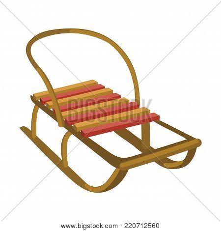 Sledge for children. Cartoon illustration of winter transportation.