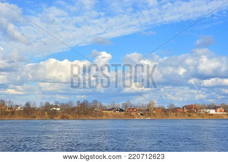 View of Neva river on the outskirts of St. Petersburg at spring day, Russia.
