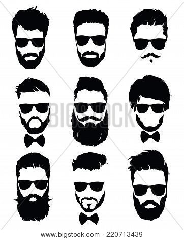 Set of hairstyles for men in glasses. Collection of black silhouettes of hairstyles and beards. Vector illustration.
