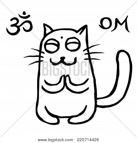 Funny cat buddhist in harmonous. Vector illustration. Om sign and symbol. Cute pet character
