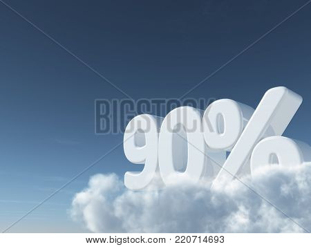 number ninety and percent symbol in the sky - 3d rendering
