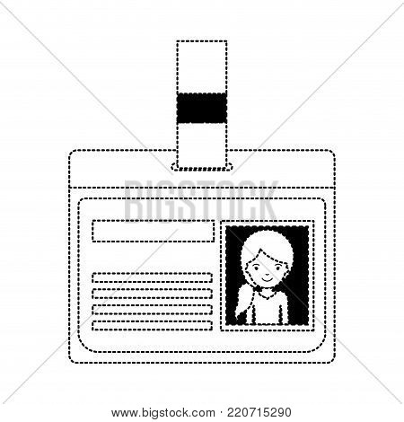 identification card with half body woman picture with pigtail hairstyle in black dotted silhouette vector illustration