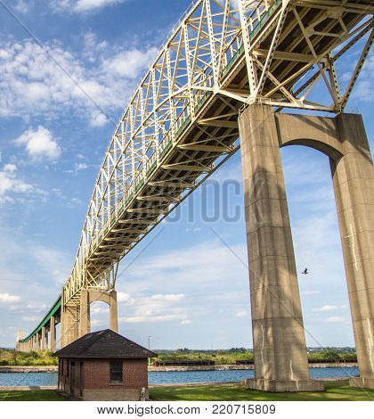 International Bridge. The International bridge between Sault Ste Marie, Michigan, USA and Sault Ste Marie, Ontario, Canada in vertical orientation.