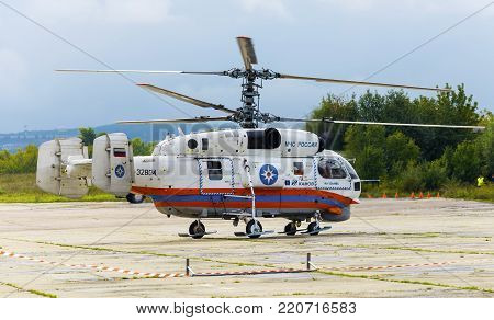 Zhukovsky, moskow region, Russia - September 1, 2013: Ministry of Emergency Situations of Russia Kamov Ka-32 rescue helicopter is being prepared for takeoff
