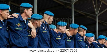 Alabino, Moskow region, Russia - July 29, 2017: The paratroopers in blue berets at the celebration of Russian Airborne Troops Day