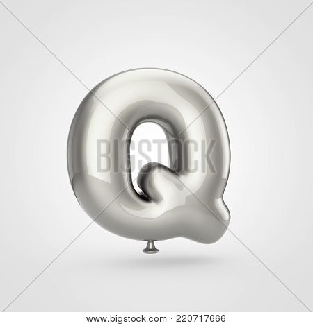 Glossy Silver Balloon Letter Q Uppercase Isolated On White Background.