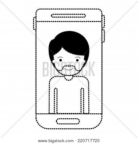 smartphone man profile picture with short hair and van dyke beard in black dotted silhouette vector illustration
