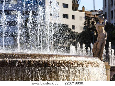 Famouns fountain in Barcelona's Placa de Catalunya