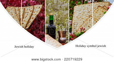 Jewish holiday Passover concept with matzah, seder plate and wine glass on white table background. Passover wine Collage from different pictures