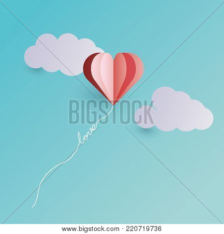Pink heart balloon floating in the sky, rope tied in love letters.Happy valentine's day background