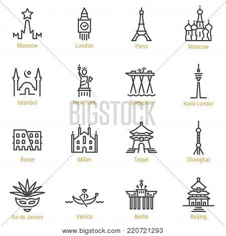 Moscow - London - Paris - Istanbul - New York - Singapore - Kuala Lumpur - Rome - Milan - Taipei - Shanghai - Rio - Venice - Berlin - Beijing Line Icons - Landmarks - Places - Sights.