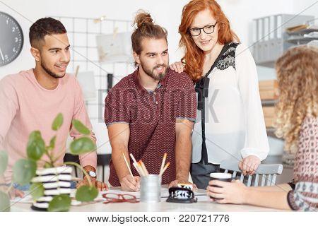 Focused Businessman Working At Desk