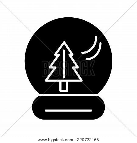 New Year's ball with a christmas tree. Vector icon. Linear magic ball isolated. Solid snow globe on white background