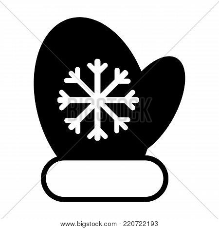Mittens icon vector line illustration. mitten with snowflake element. Christmas symbol. Solid flat illustration.