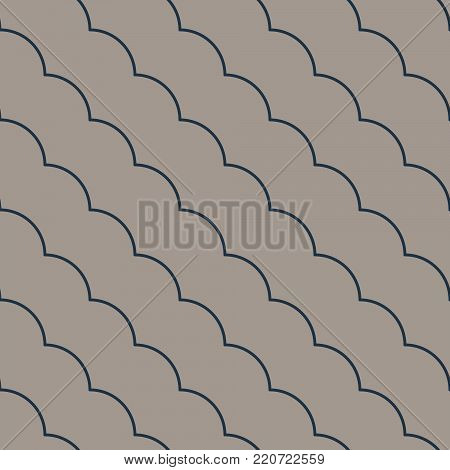 Diagonal ruffle lines seamless vector pattern. Geometric repeating background.
