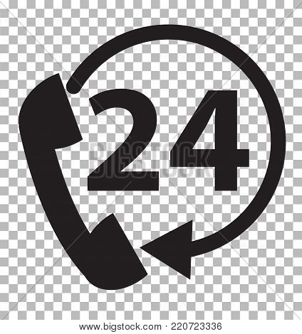 telephone support 24 hours on transparent background. telephone service sign. flat style.