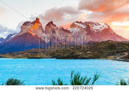 Torres Del Paine National Park, Chile. Sunrise at the Laguna Pehoe.