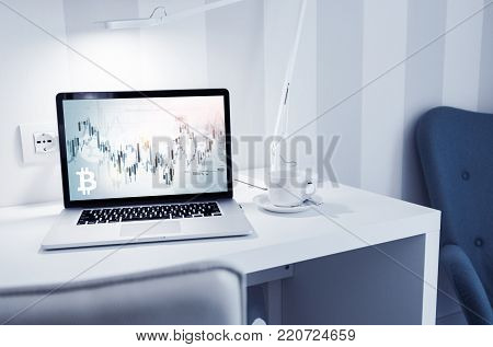Bitcoin Cryptocurrency Trader. Trading Virtual Currency Concept with Elegant Modern Home Office Space.