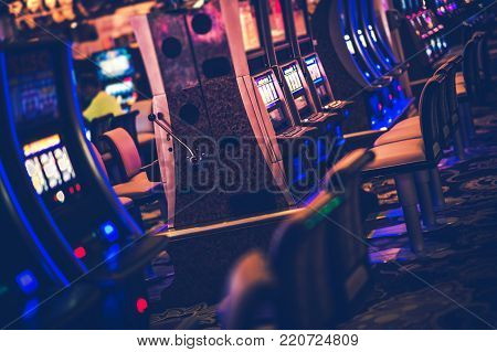 Casino Gambling Machines. Rows of Slot Machines and Other Video Money Games. Las Vegas, Nevada.