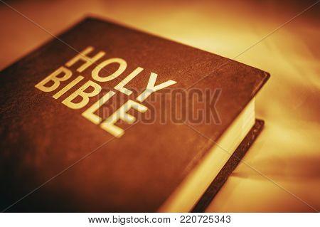 Holy Bible Closeup. Sepia Color Grading. Bible Reading Theme.