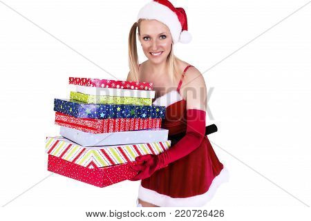 Beautiful sexy girl wearing Santa Claus clothes, isolated on white background.