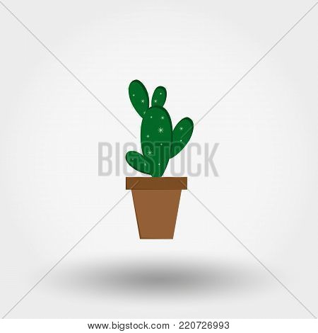 Cactus in a flowerpot. Houseplant. Icon for web and mobile application. Vector illustration on a white background. Flat design style.