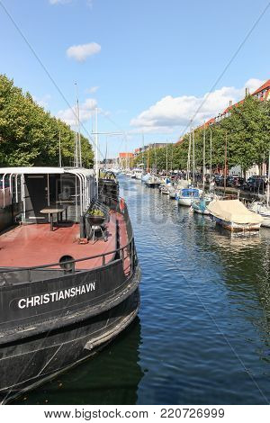 Copenhagen, Denmark - September 10, 2017: Canal of Christianshavn in Copenhagen, Denmark