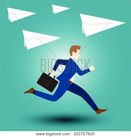 Vector Illustration Business Concept Designed As A Businessman Is Running Forward In High Speed Along With Paper Rockets. He Starts Up To New Opportunity With Full Motivation, Attempt, Encouragement.
