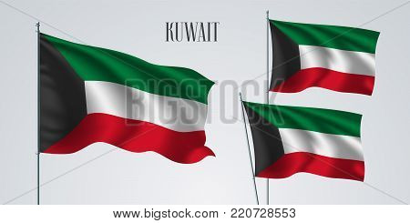 Kuwait waving flag set of vector illustration. Stripes of Kuwait wavy realistic flag as a patriotic symbol