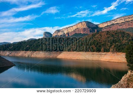 a view of the Sau Reservoir, in the Ter River, in the Province of Girona, Catalonia, Spain