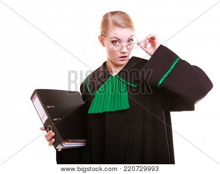 Law court or justice concept. Young woman lawyer attorney wearing classic polish (Poland) black green gown with file folder or dossier isolated on white background