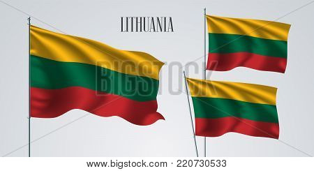 Lithuania waving flag set of vector illustration. Red green colors of Lithuanian wavy realistic flag as a patriotic symbol