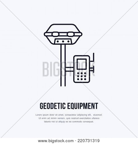 Geological survey, engineering vector flat line icon. Geodesy equipment. Geology research illustration, sign.