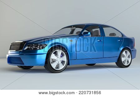 Car on gray studio background - blue paint. 3d rendering