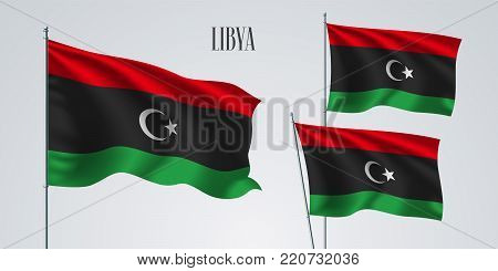 Libya waving flag set of vector illustration. Red green colors of Libyan wavy realistic flag as a patriotic symbol