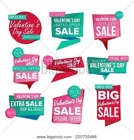 Valentine s Day Sale Banner Set Vector. Sale Voucher Banner. Discount Tag, Special Valentine Offer Banner. Special Offer Love Templates. Best Offer Advertising. Isolated Illustration