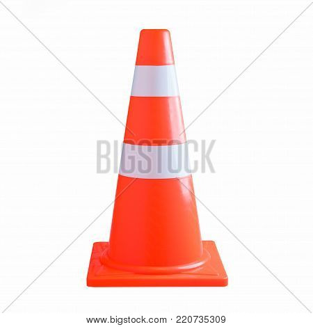 Traffic cone isolated on white background, Orange highway traffic cone with white stripes